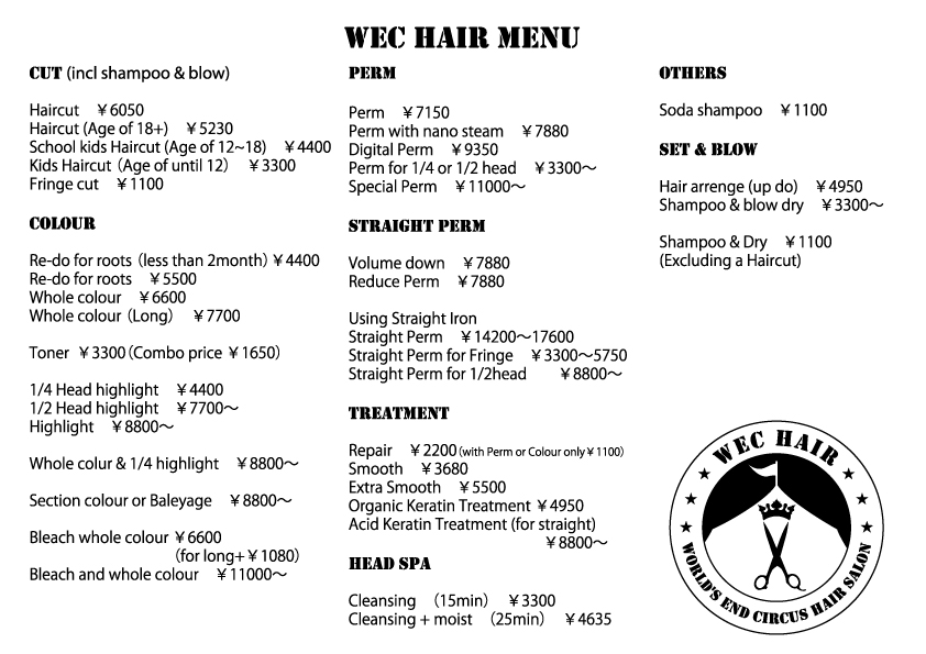 English Speaking hairdressing salon WEC Hair in Tokyo